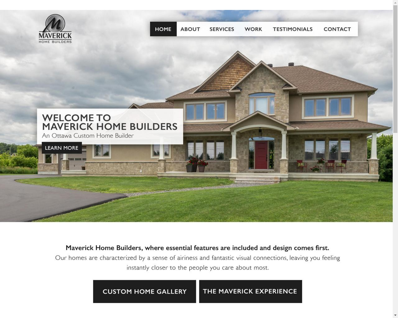 Maverick home builders webshark ottawa web design for Home builder website